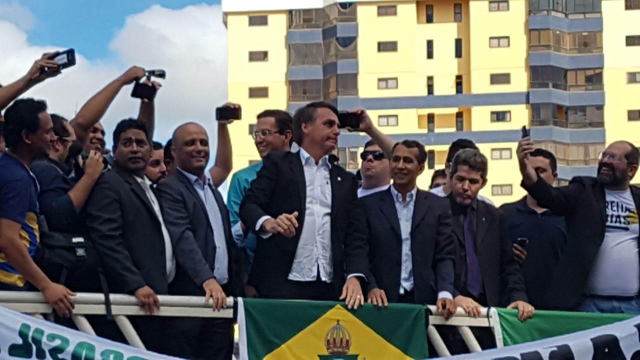 Deputado federal Jair Bolsonaro em Anápolis (GO) | Foto: Leitor/ WhatsApp