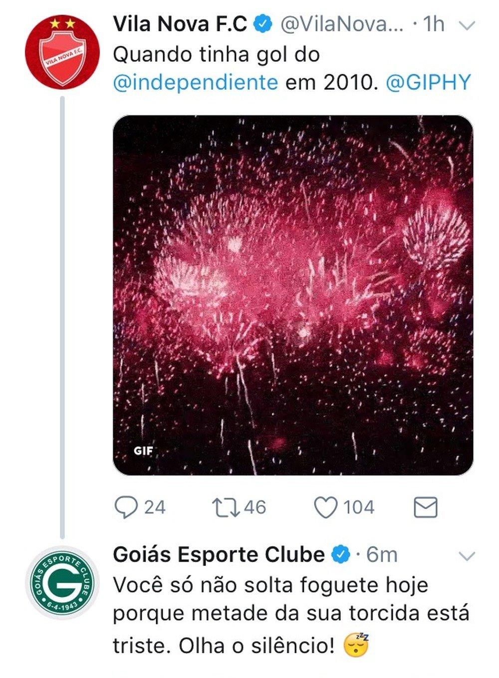 Vila e Goiás trocaram farpas pelas redes   Foto: Reprodução/ Twitter