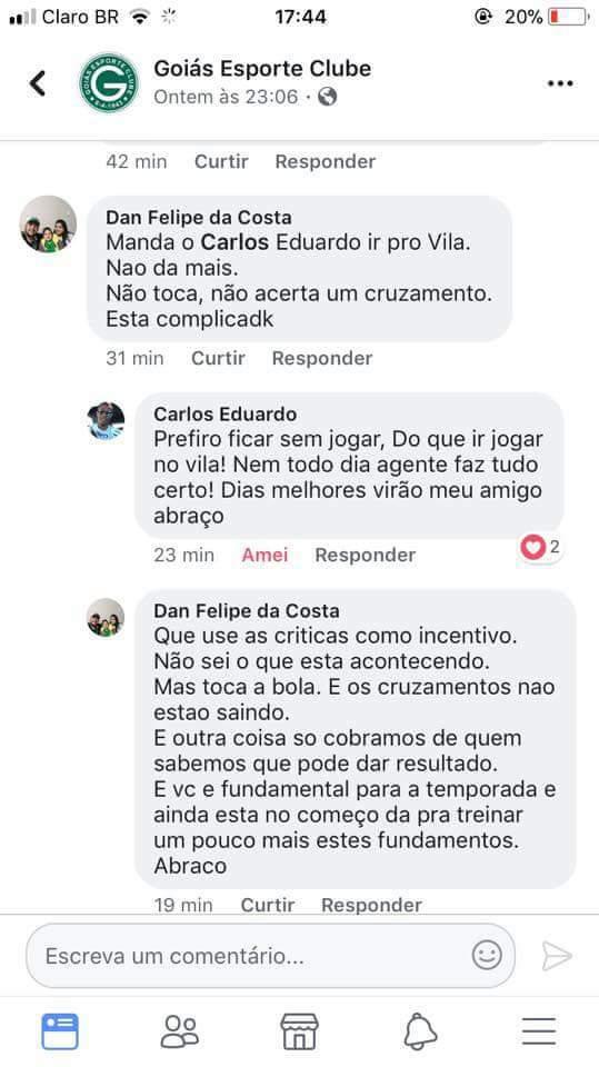 'Prefiro ficar sem jogar do que ir jogar no Vila Nova', escreve perfil de Carlos sobre ir para o Vila | Foto: Reprodução/ Facebook