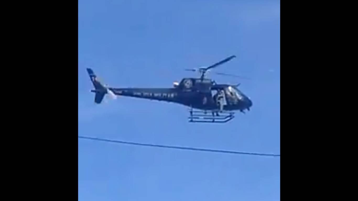 Helicóptero da PM flagra carro roubado e participa de prisão em Goiânia   Foto: Reprodução/ Whatsapp