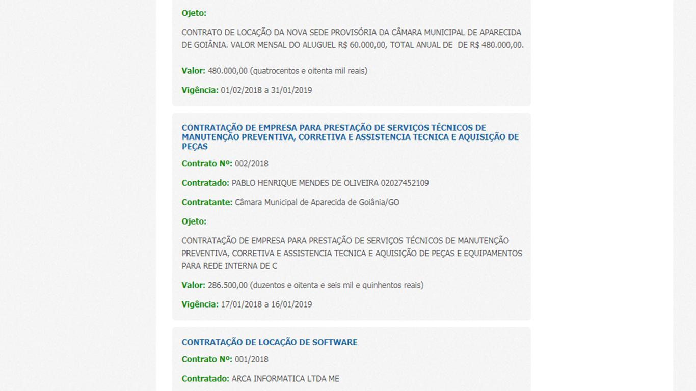 Exemplo de contrato sem especificação presente no site da Câmara de Aparecida de Goiânia | Foto: Reprodução/ Portal da Transparência
