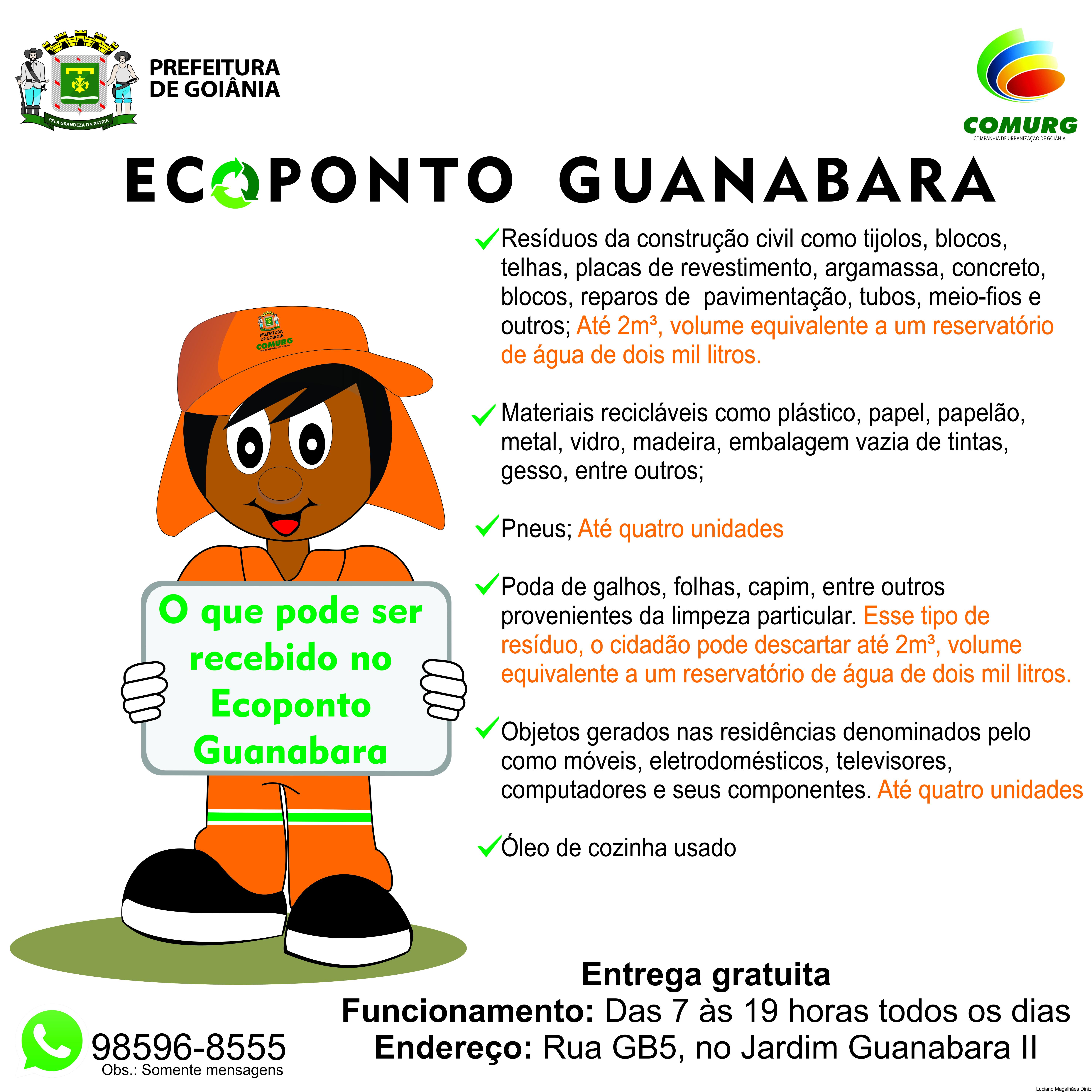 Ecoponto da Comurg no Jardim Guanabara recebe depósitos gratuitos de móveis, entulho, pneus e até eletrodomésticos | Foto: Divulgação / Comurg