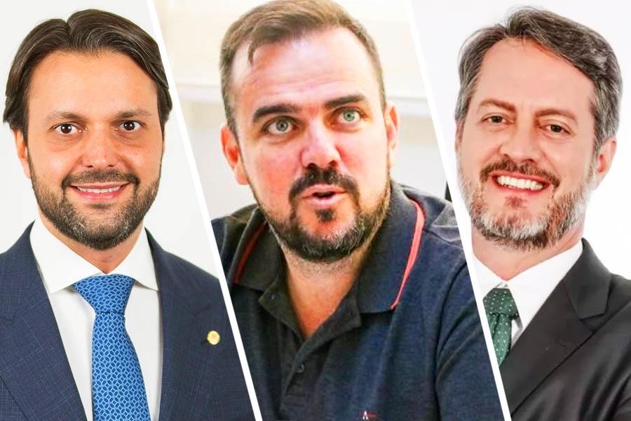 Alexandre Baldy (presidente estadual do PP), Gustavo Mendanha (MDB) e Cristiano Cunha (presidente estadual do PV) | Foto: Montagem/FZ
