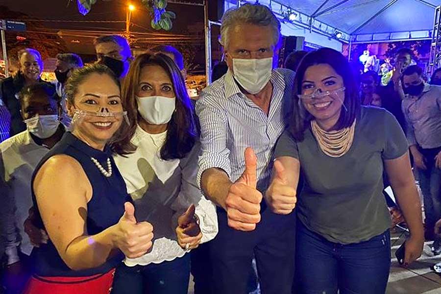 Márcia Caldas, Gracinha Caiado, Ronaldo Caiado e Carol Araújo | Foto: Reprodução