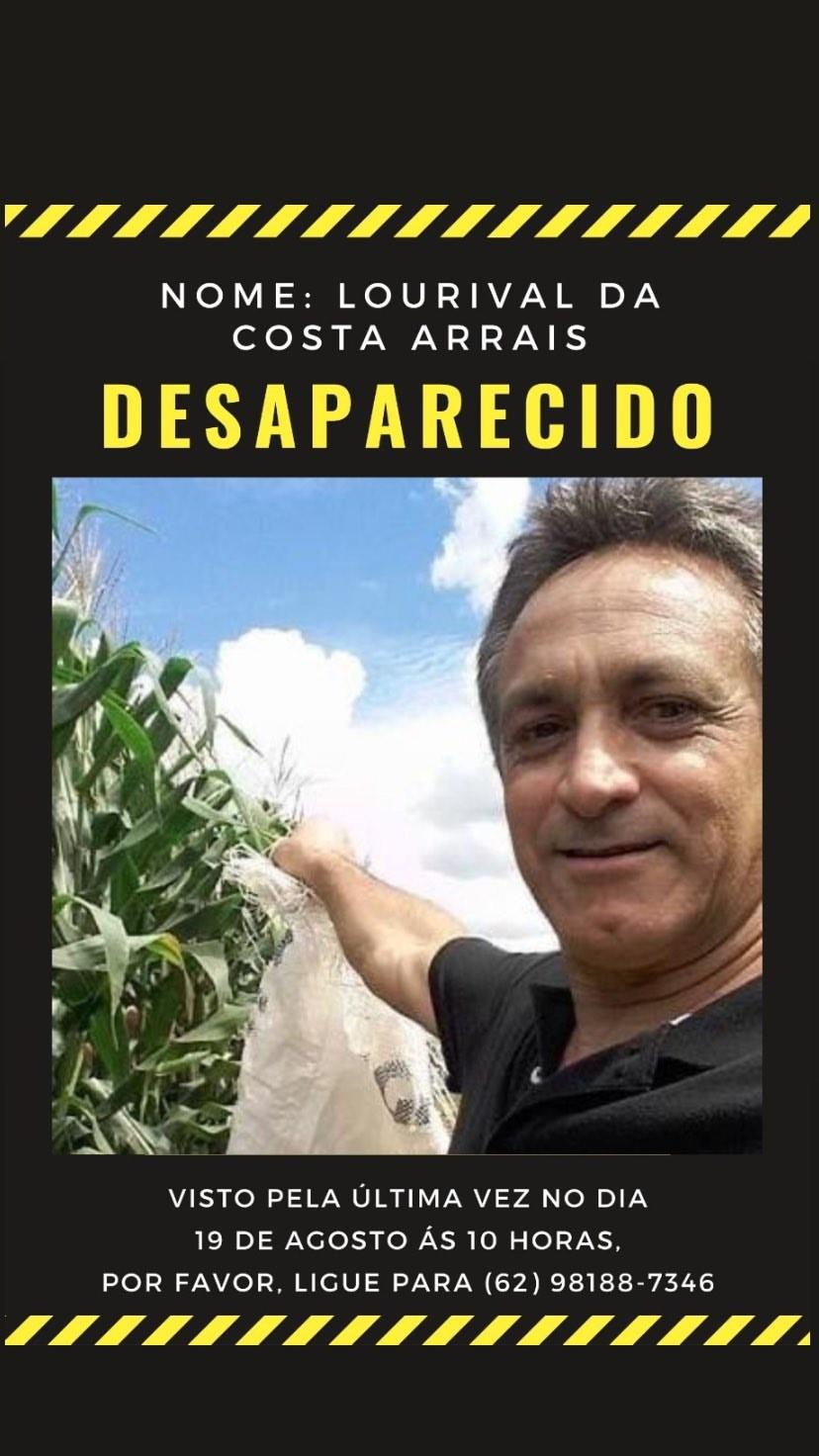 Lourival da Costa Arrais está desaparecido desde a manhã de 5ª feira (20)   Foto: Divulgação